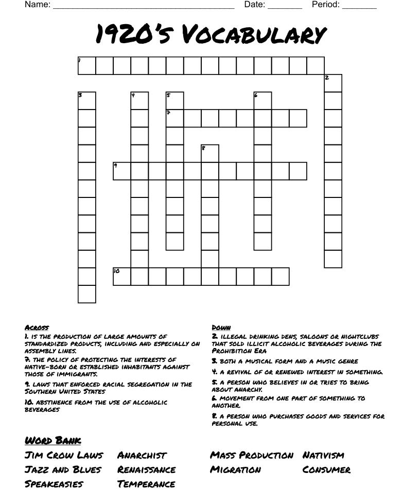 Roarin 20's Crossword - WordMint