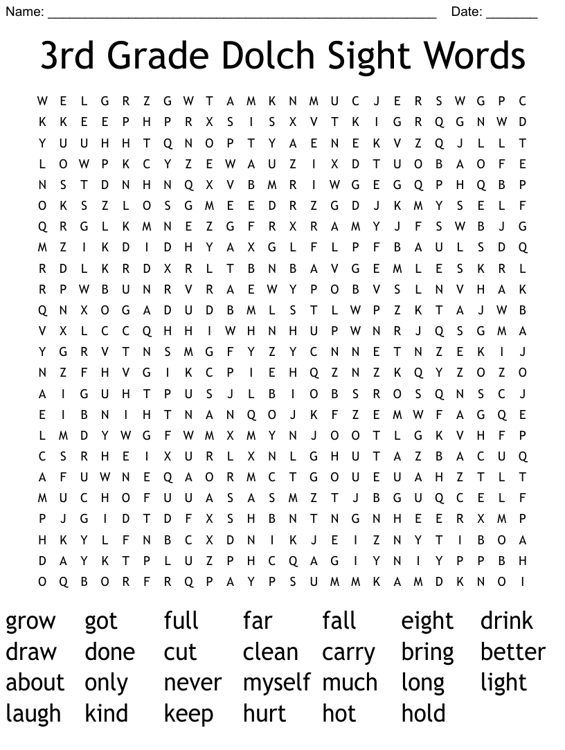 3rd Grade Dolch Sight Words Word Search Wordmint