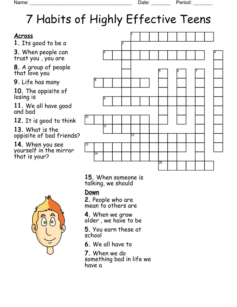 22 Habits of Highly Effective Teens Crossword - WordMint Throughout 7 Habits Worksheet Pdf