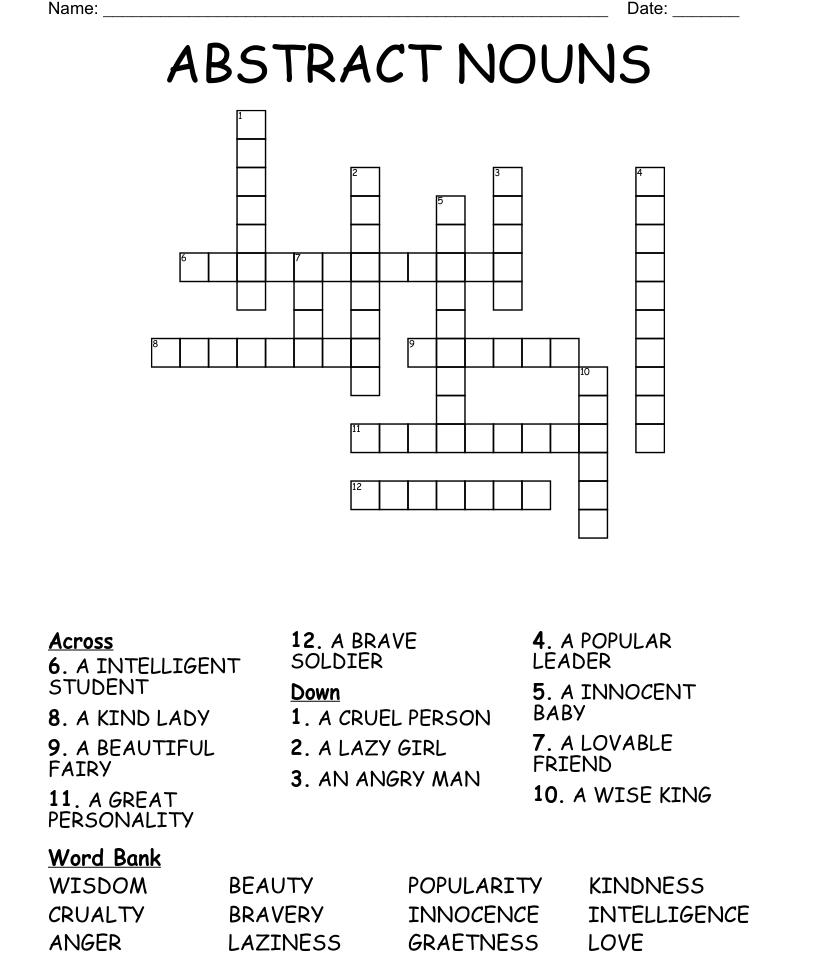 ABSTRACT NOUNS Crossword - WordMint