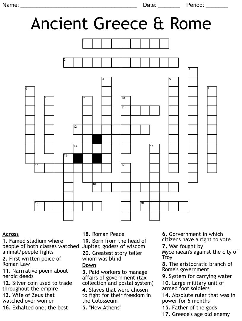 Ancient Greece Rome Crossword Wordmint
