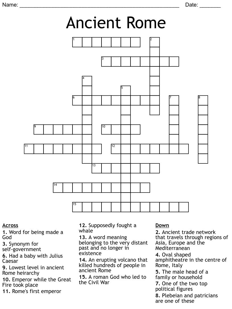 Ancient Rome Crossword Wordmint