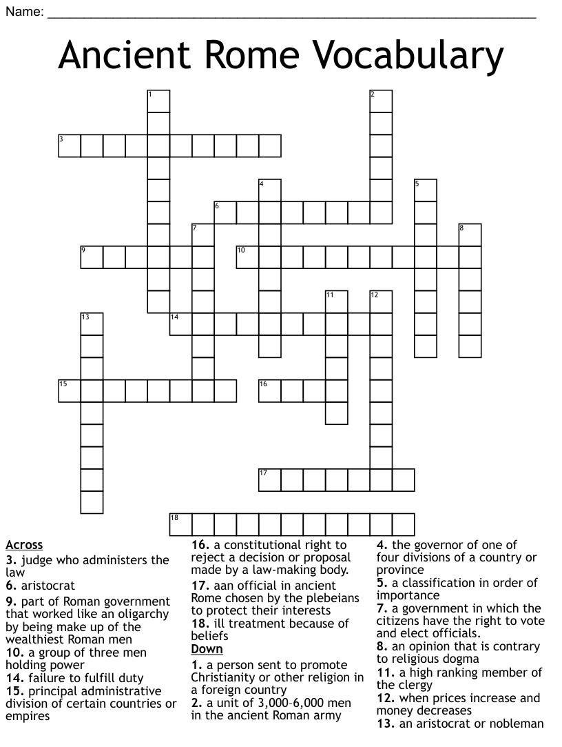 Roman Empire Crossword Wordmint