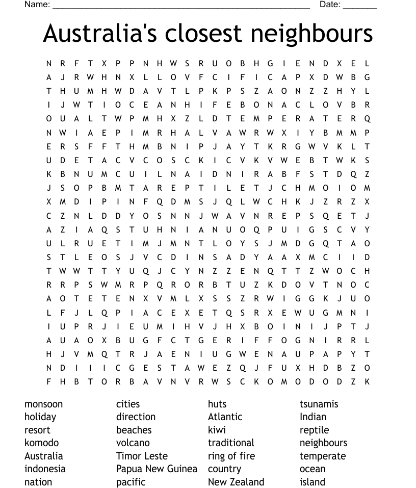 Australia S Closest Neighbours Word Search Wordmint