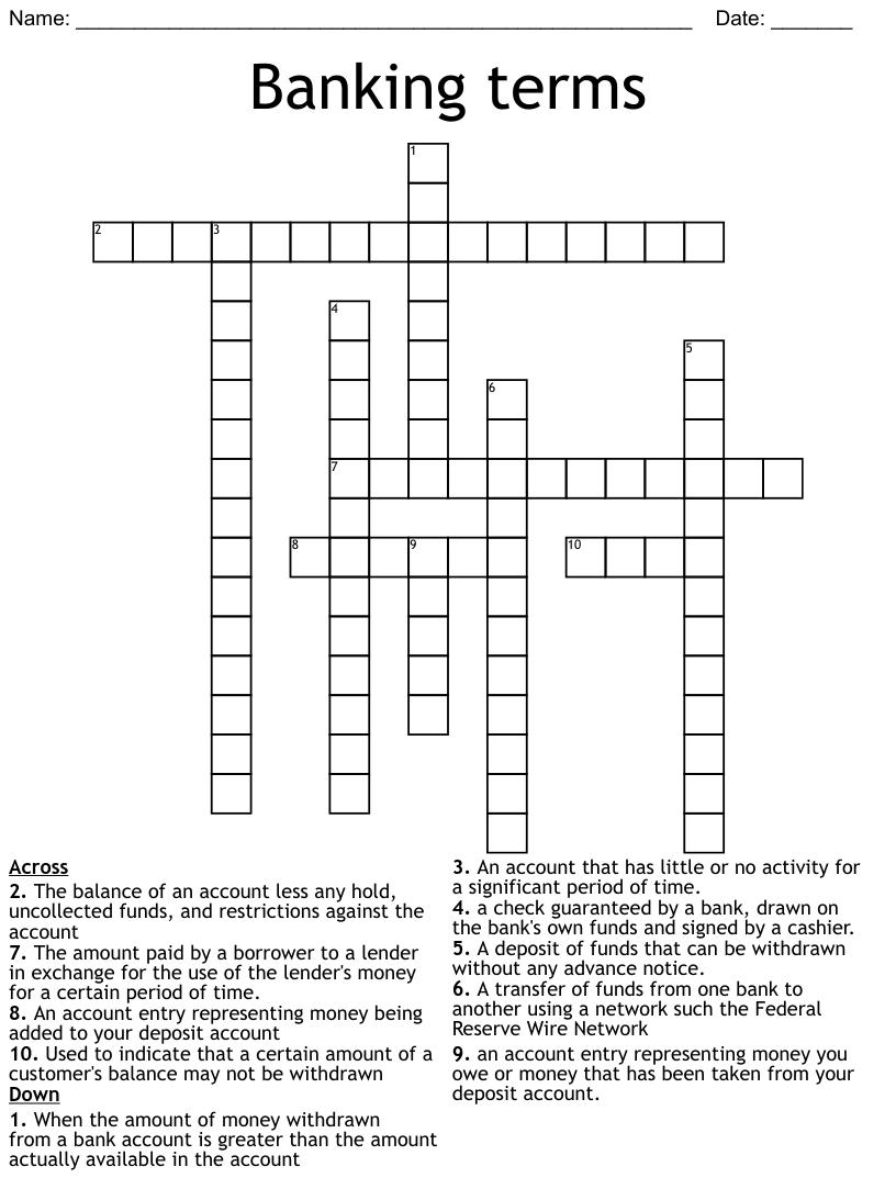Money Crossword Word Search - WordMint