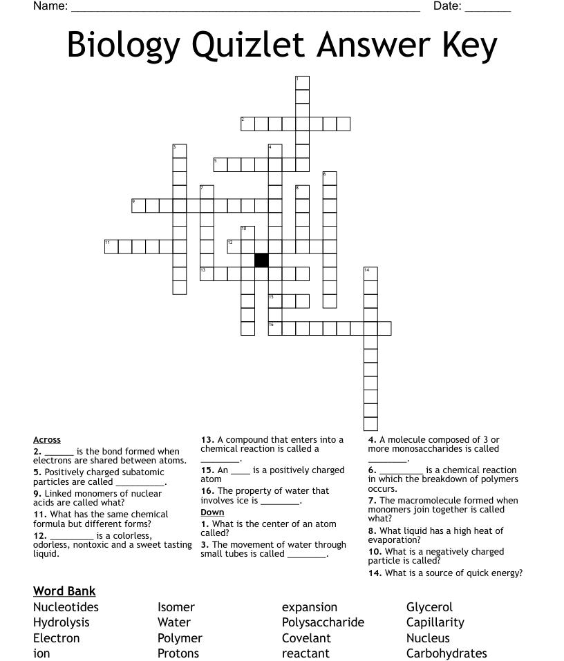 Chemistry Crosswords, Word Searches, Bingo Cards - WordMint