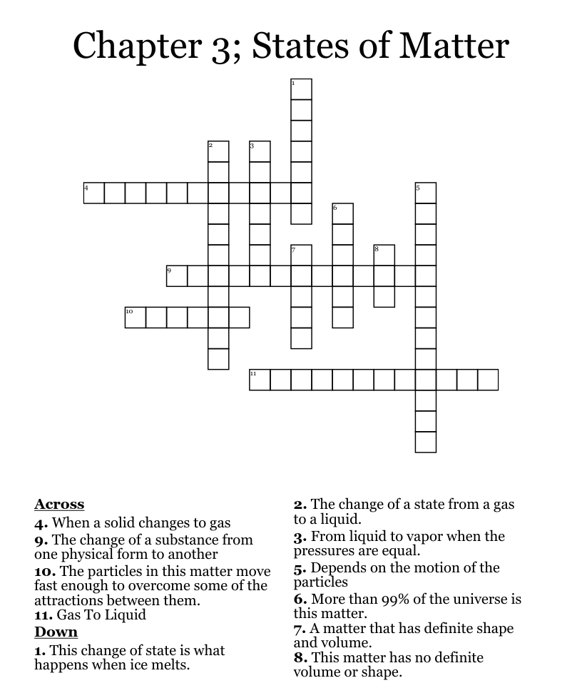 Chapter 24; States of Matter Crossword - WordMint Inside States Of Matter Worksheet Answers