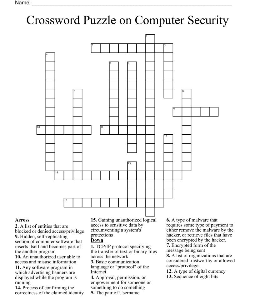 Crossword Puzzle on Computer Security   WordMint