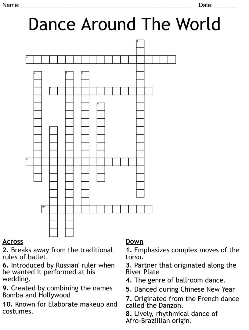 Styles Of Dance Crossword Wordmint