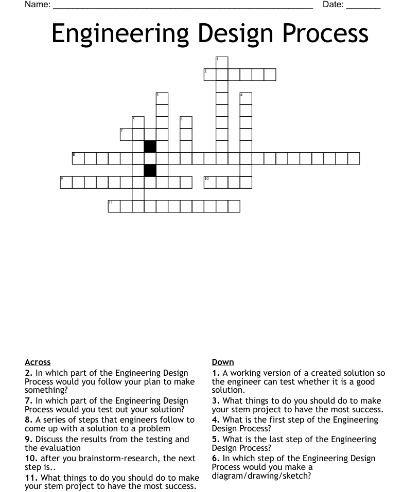 Engineering Design Process Crossword - WordMint Within Engineering Design Process Worksheet