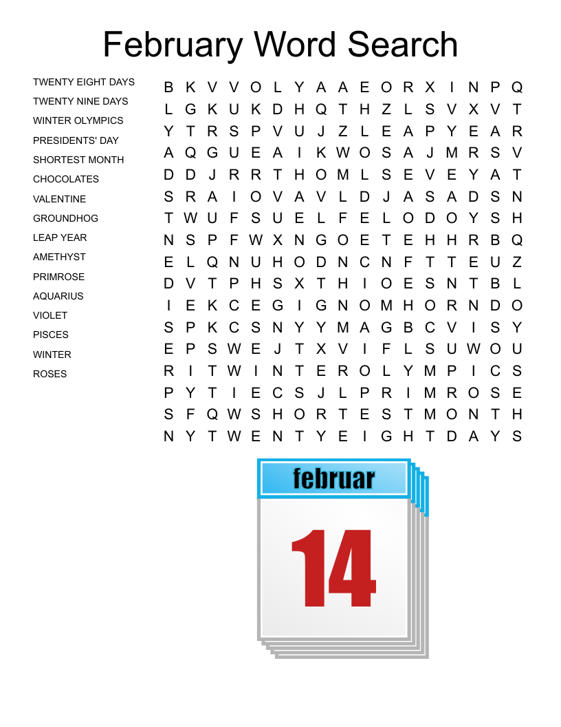 February Word Search - WordMint