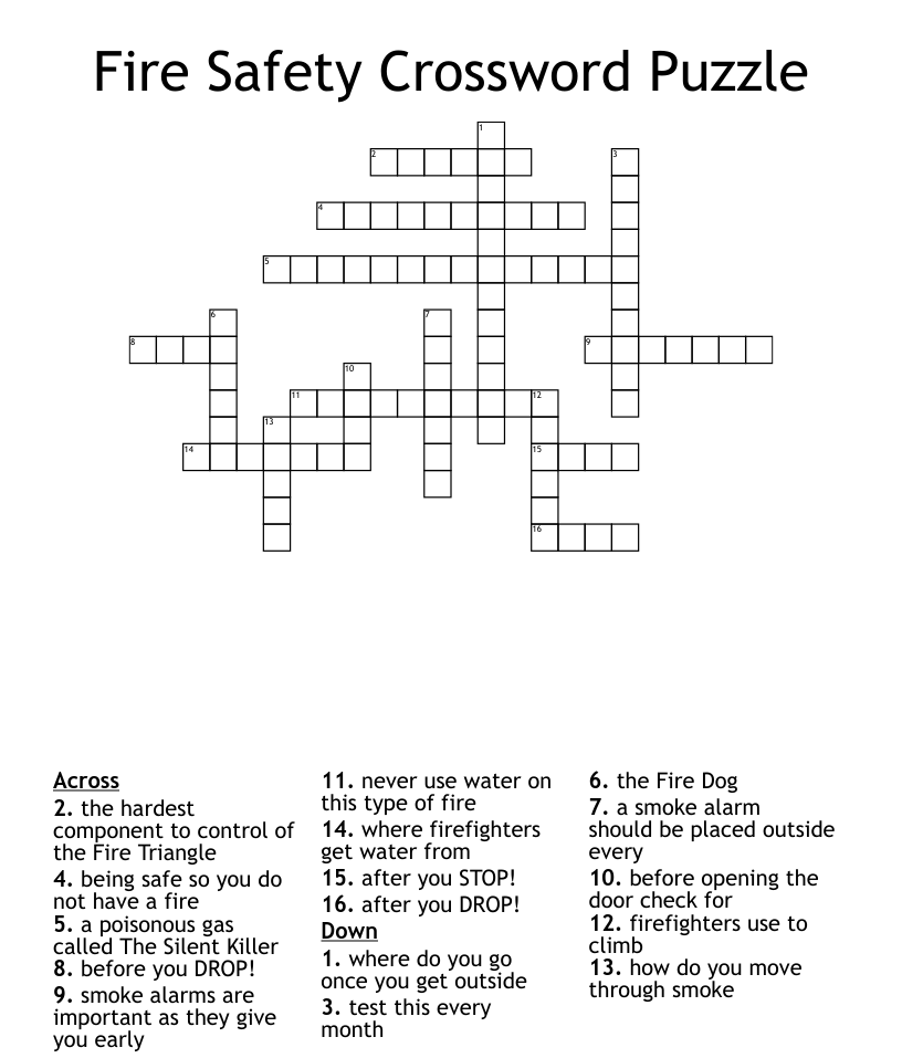 Fire Safety Crossword Puzzle - WordMint