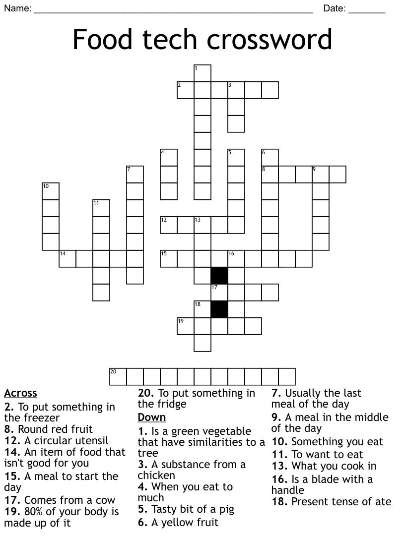 Food tech crossword - WordMint