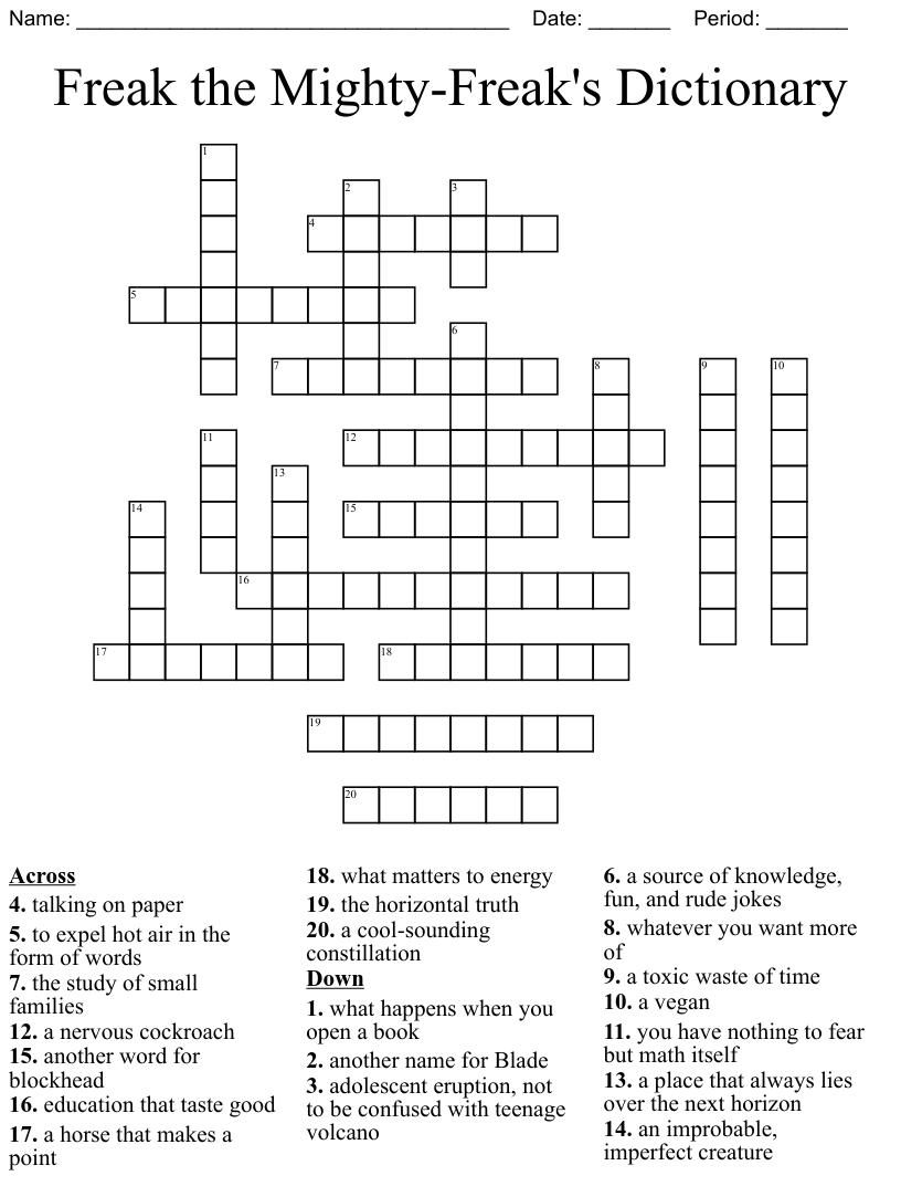 Freak the Mighty Freak's Dictionary Crossword   WordMint