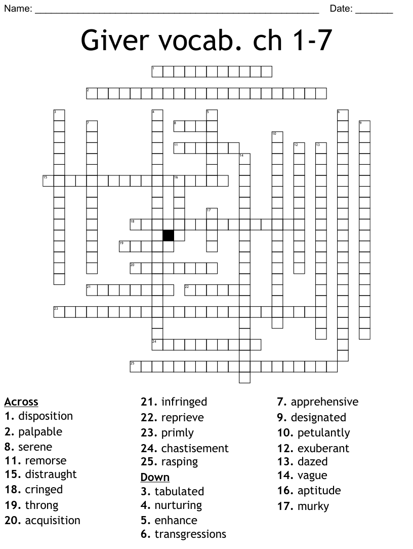 The Giver Vocabulary Chapters 1 7 Crossword Wordmint