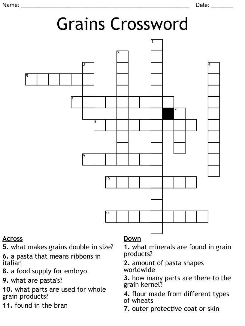 Chapter 30 Grains Crossword Wordmint