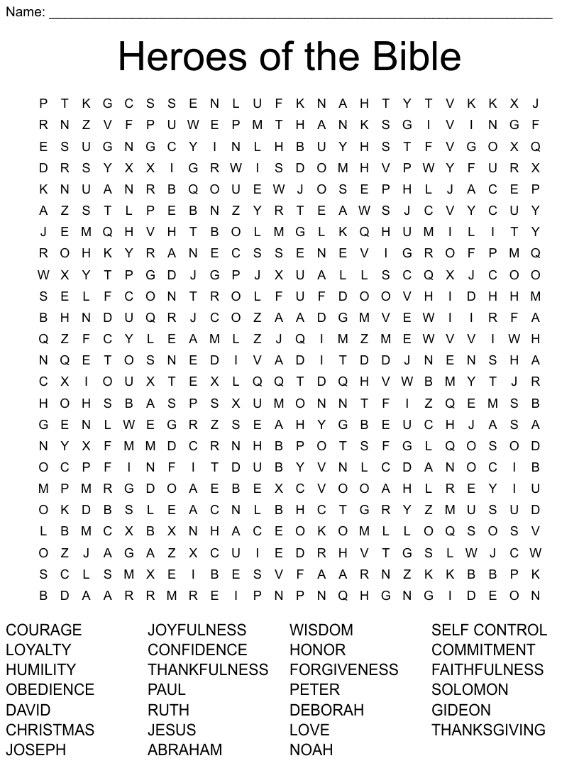 Heroes Of The Bible Word Search Wordmint