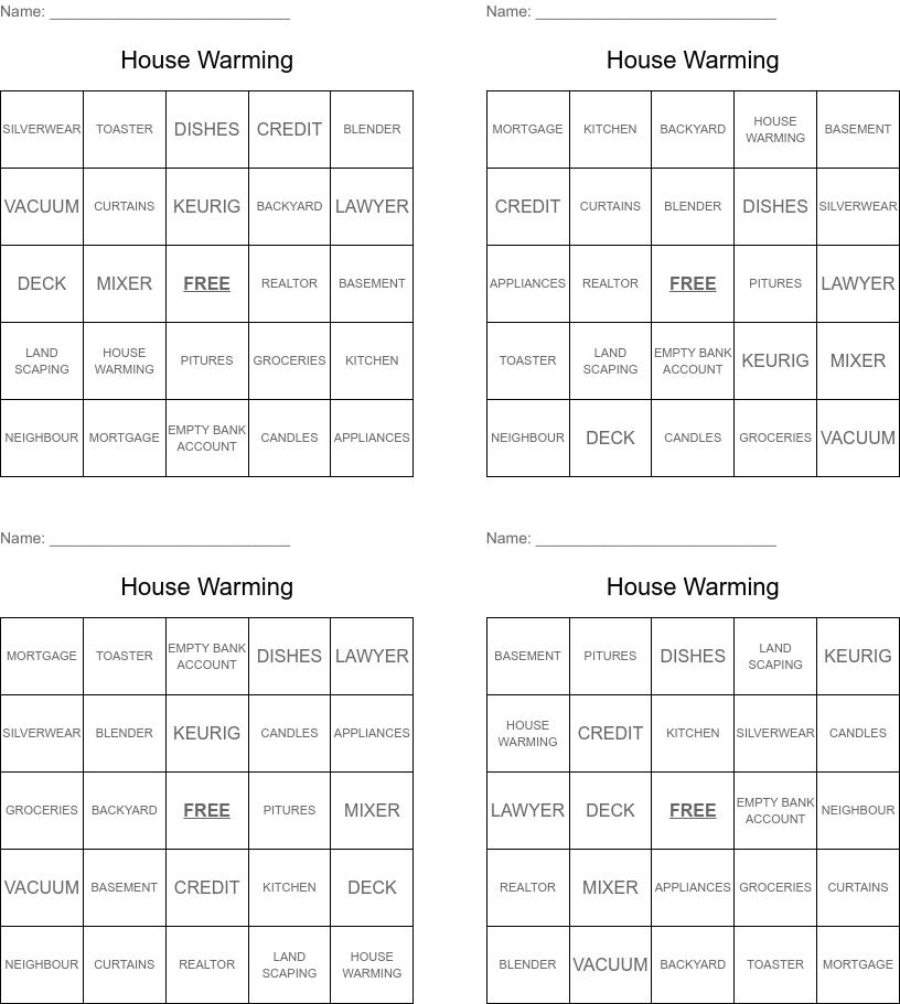 Housewarming Bingo Wordmint