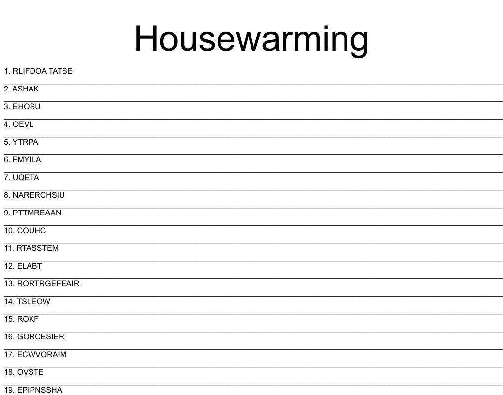 Housewarming Word Search Wordmint