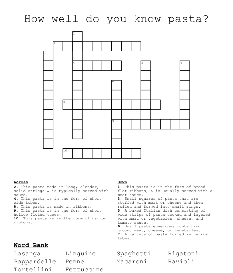 How Well Do You Know Pasta Crossword Wordmint