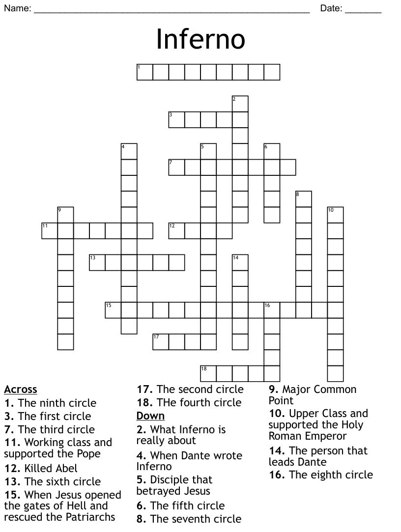 Inferno Crossword - WordMint
