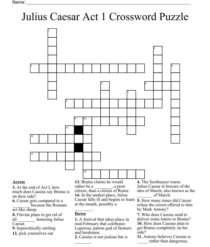 Julius Caesar Act 1 Crossword Puzzle - WordMint