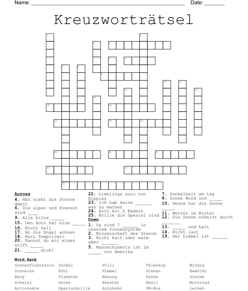 Kreuzwortratsel Crossword Wordmint