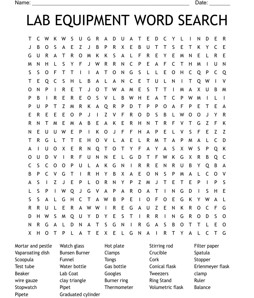 Similar to CHEMISTRY EQUIPMENT IDENTIFICATION Word Search - WordMint In Lab Equipment Worksheet Answer Key