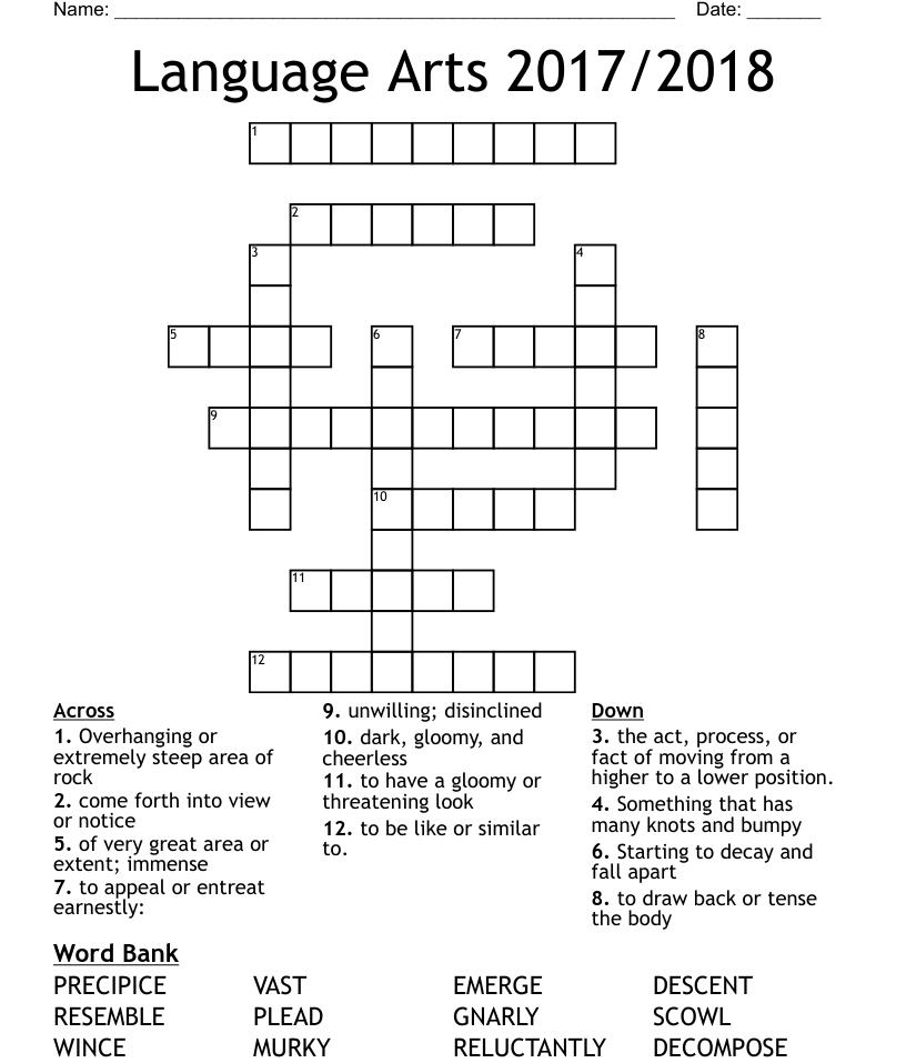 The Ravine Vocab Crossword Wordmint
