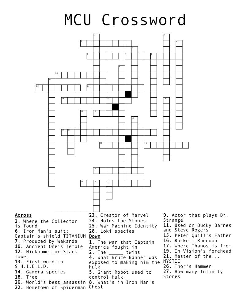 Avenger Endgame Crossword   WordMint