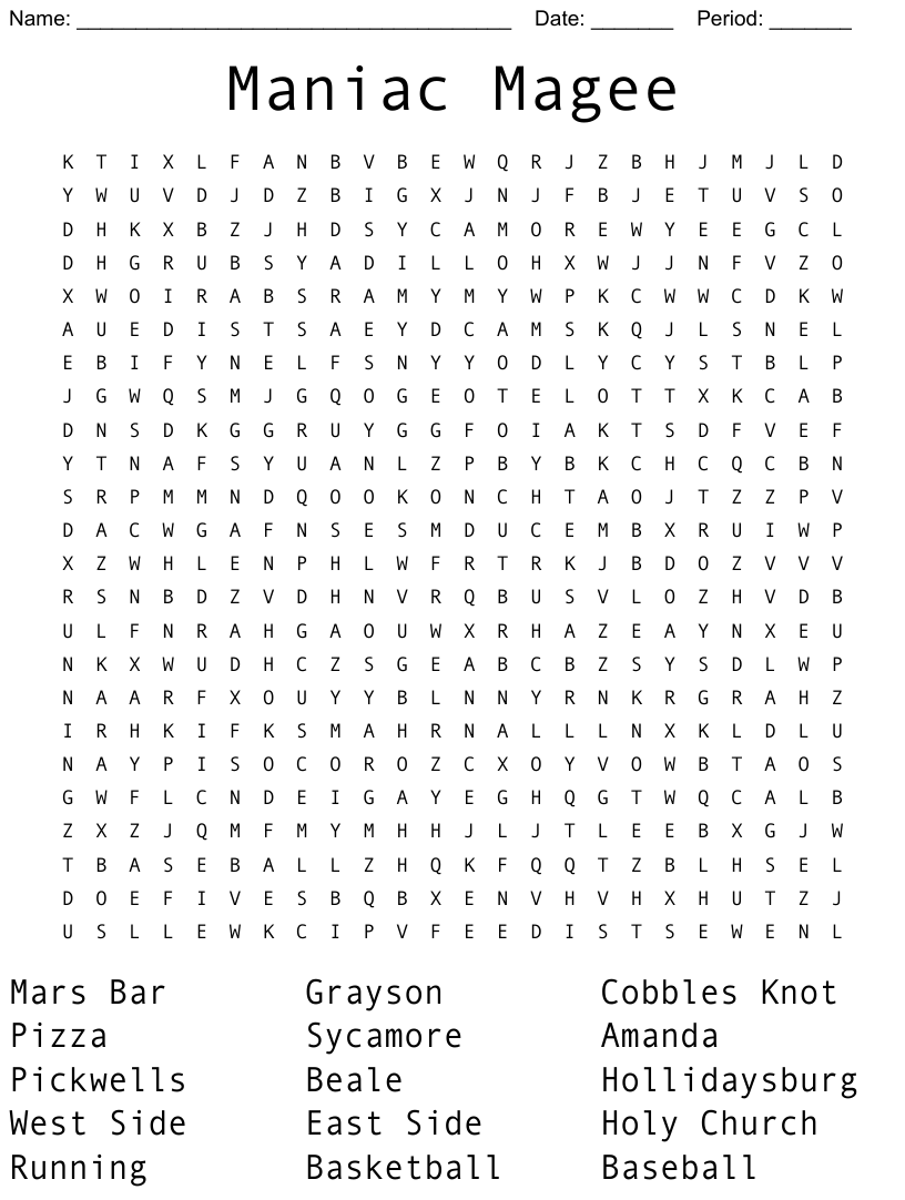 Maniac Magee Word Search Wordmint