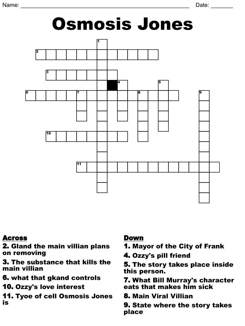 Osmosis Jones Crossword - WordMint Throughout Osmosis Jones Movie Worksheet