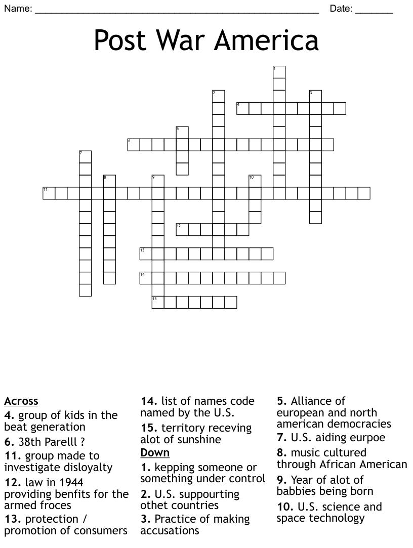 Post War/EarlyCold War Crossword - WordMint