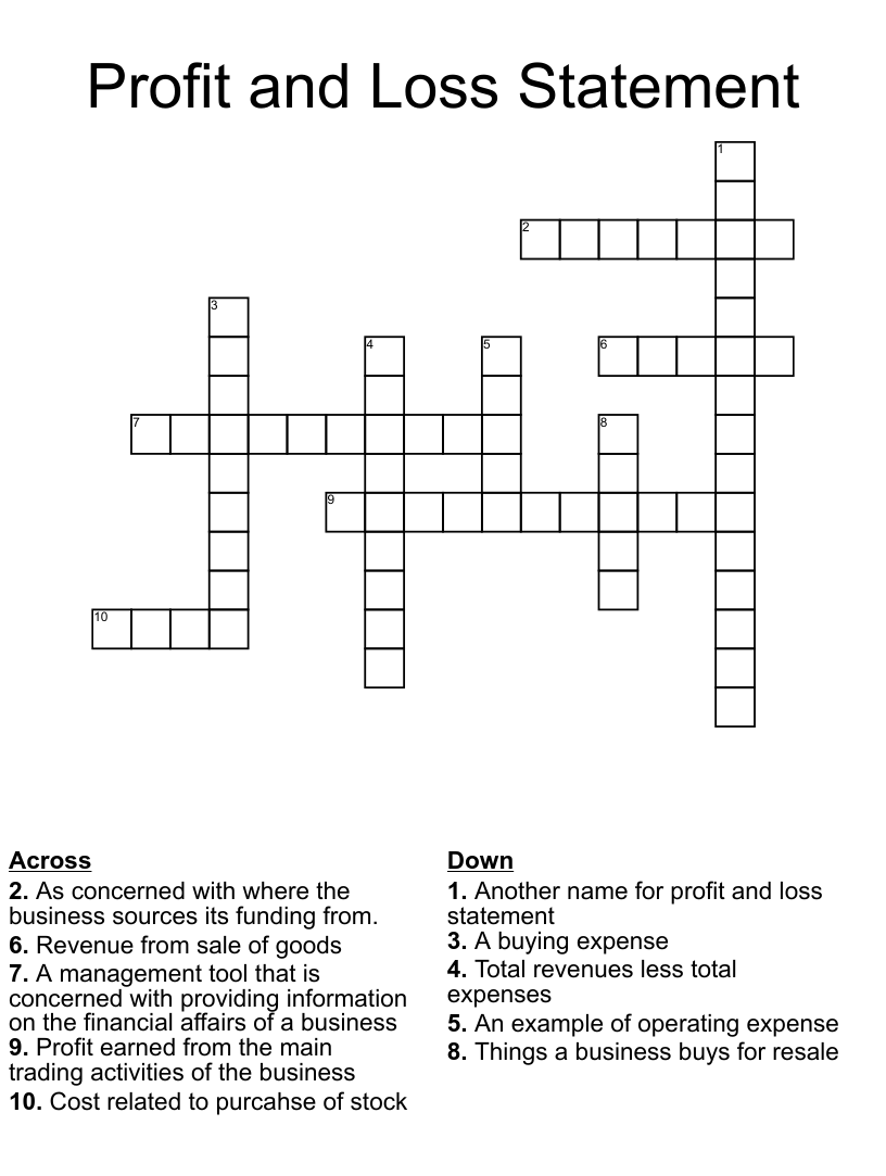Profit And Loss Statement Crossword Wordmint