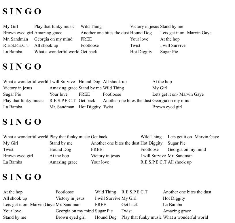 Free Music Bingo Cards
