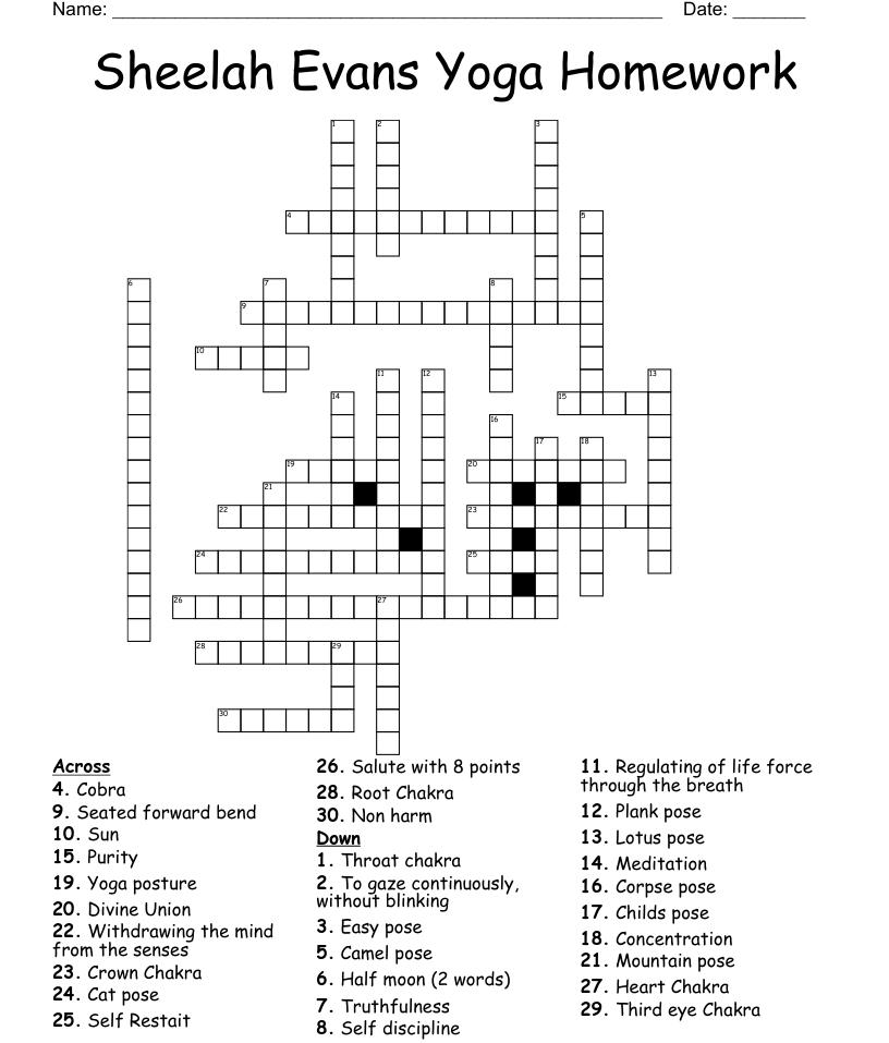 Yoga Poses   Sanskrit Crossword   WordMint