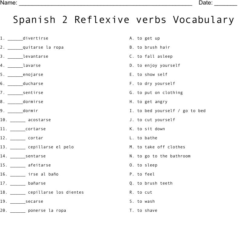 Spanish 2 Reflexive Verbs Vocabulary Worksheet Wordmint [ 875 x 1121 Pixel ]