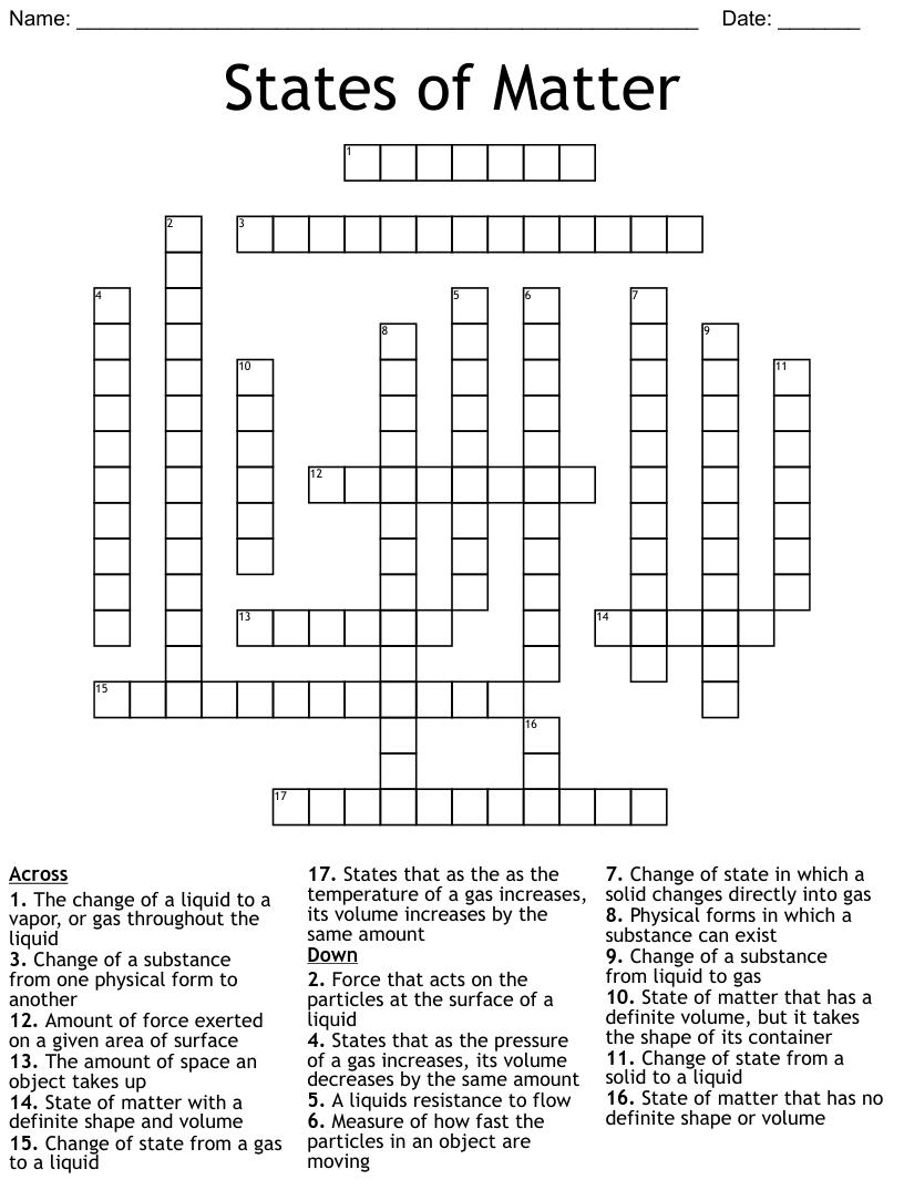 States of Matter Crossword - WordMint Throughout States Of Matter Worksheet Answers