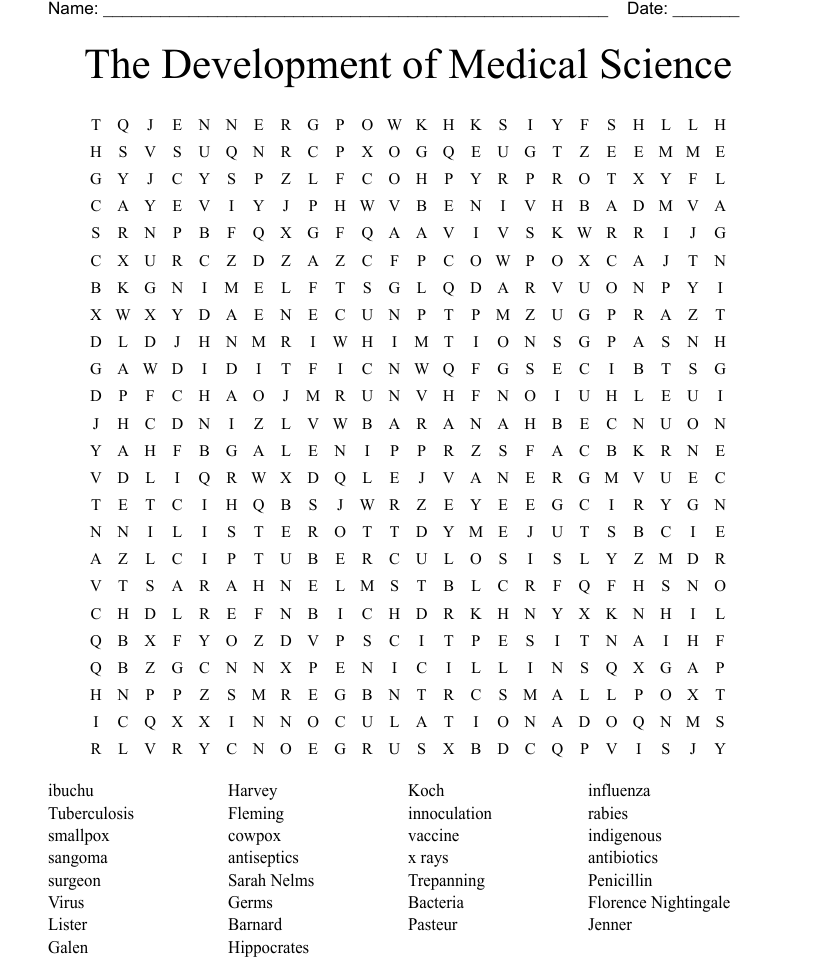The Development of Medical Science Word Search - WordMint