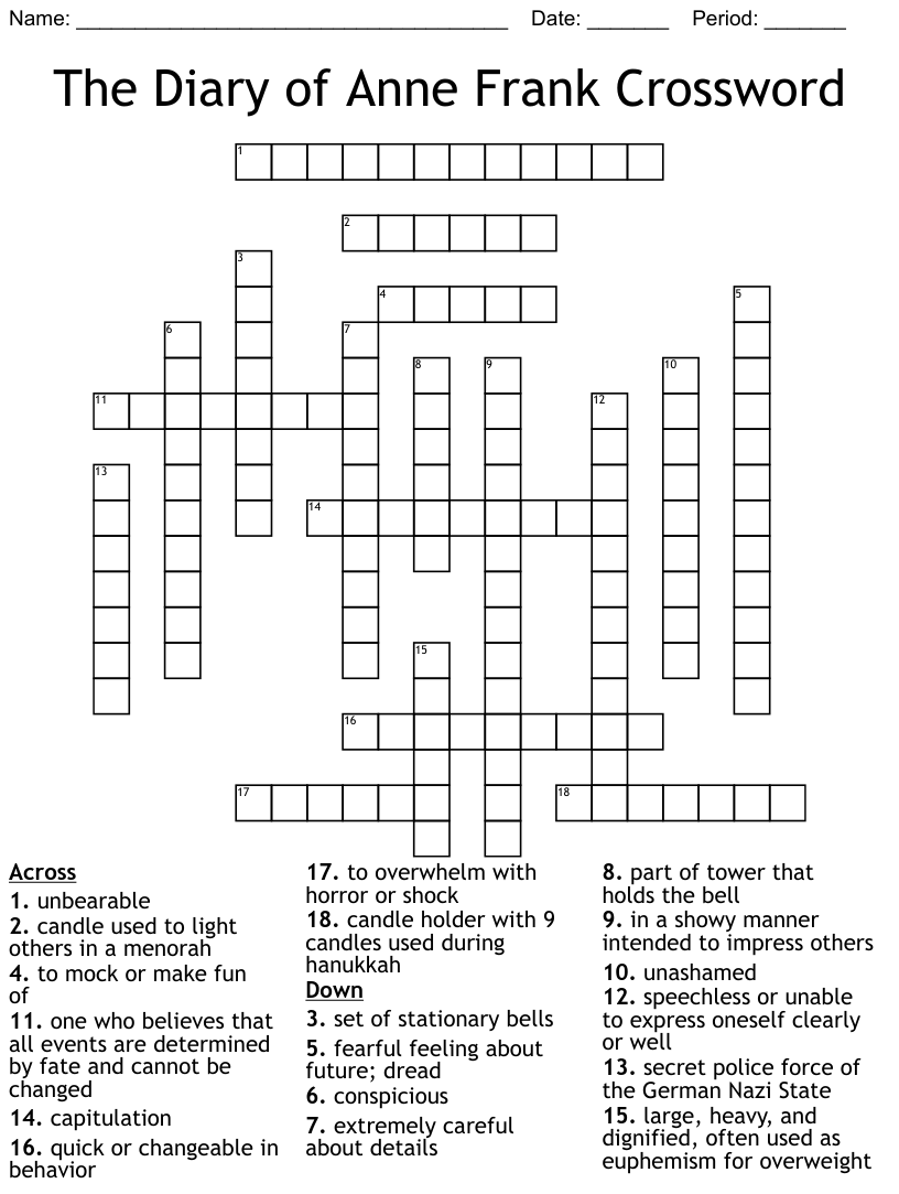 The Diary of Anne Frank Crossword   WordMint