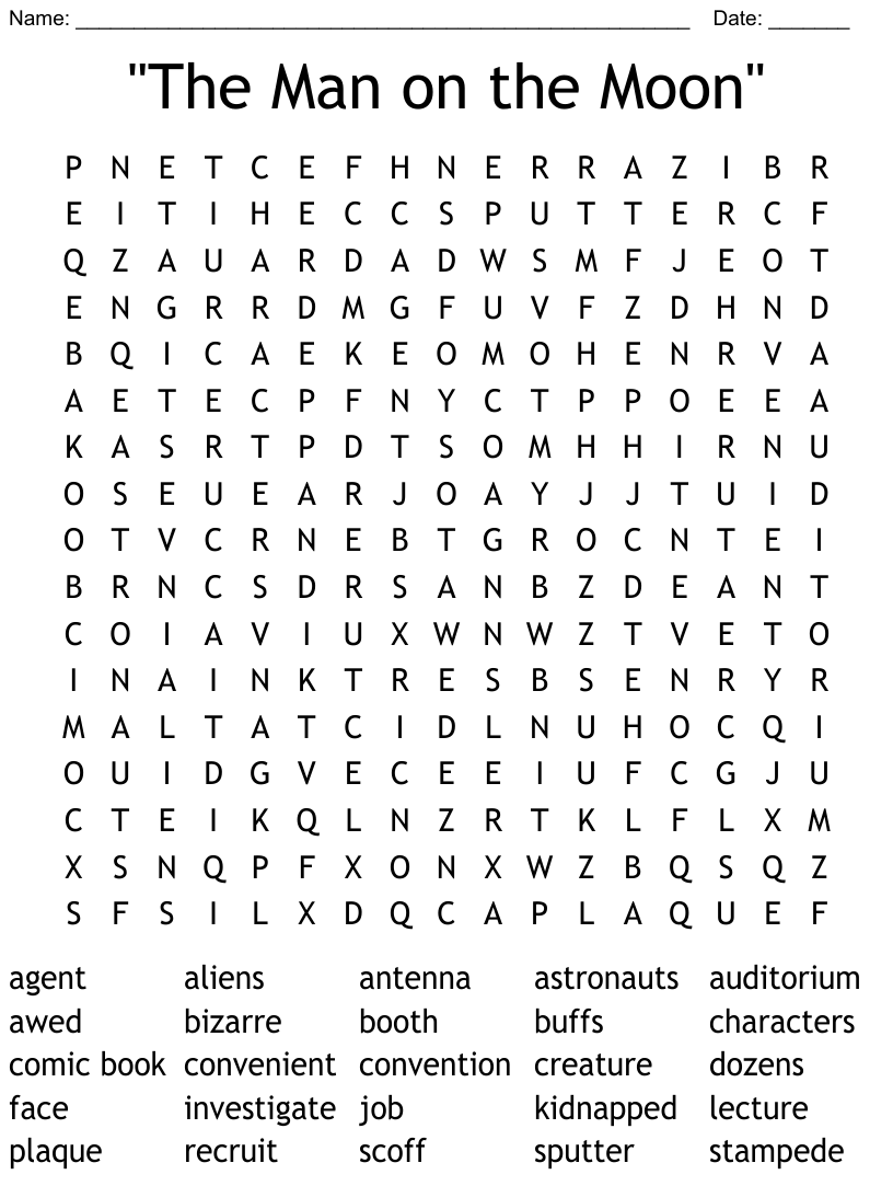 """""""The Man on the Moon"""" Word Search - WordMint"""