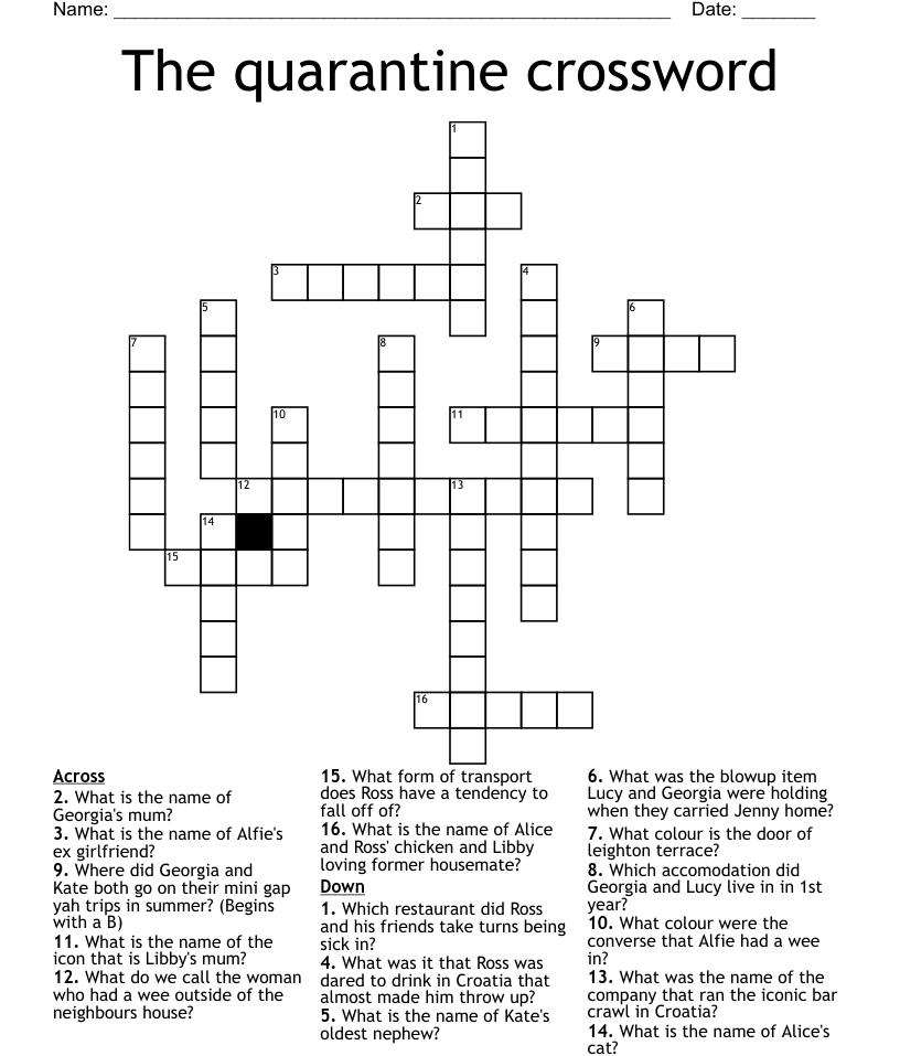 The quarantine crossword - WordMint