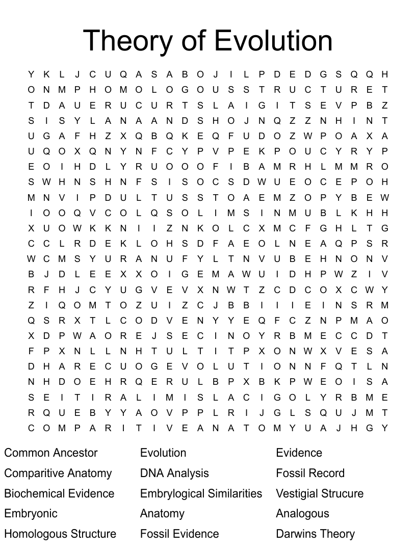 Evidence Of Evolution Word Search - WordMint Pertaining To Evidence Of Evolution Worksheet