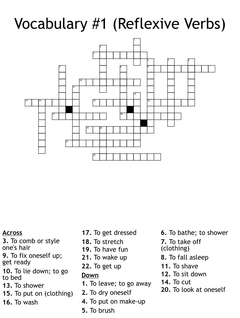 Vocabulary 1 Reflexive Verbs Crossword Wordmint [ 1076 x 1121 Pixel ]
