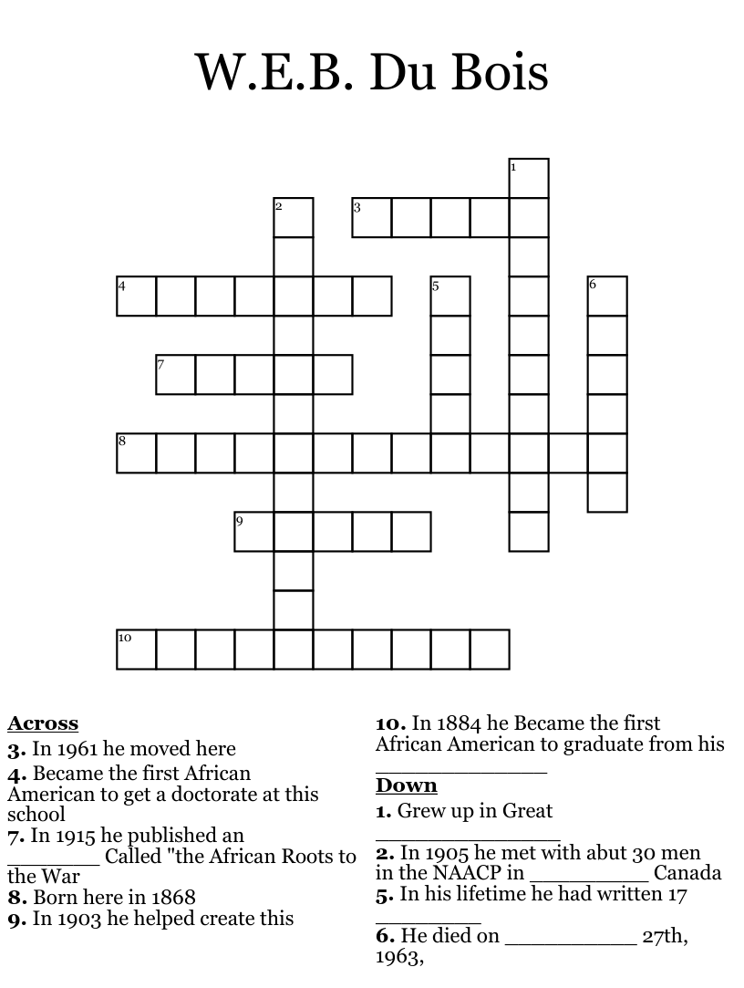 W.E.B. Dubois and Harlem renaissance! Crossword - WordMint