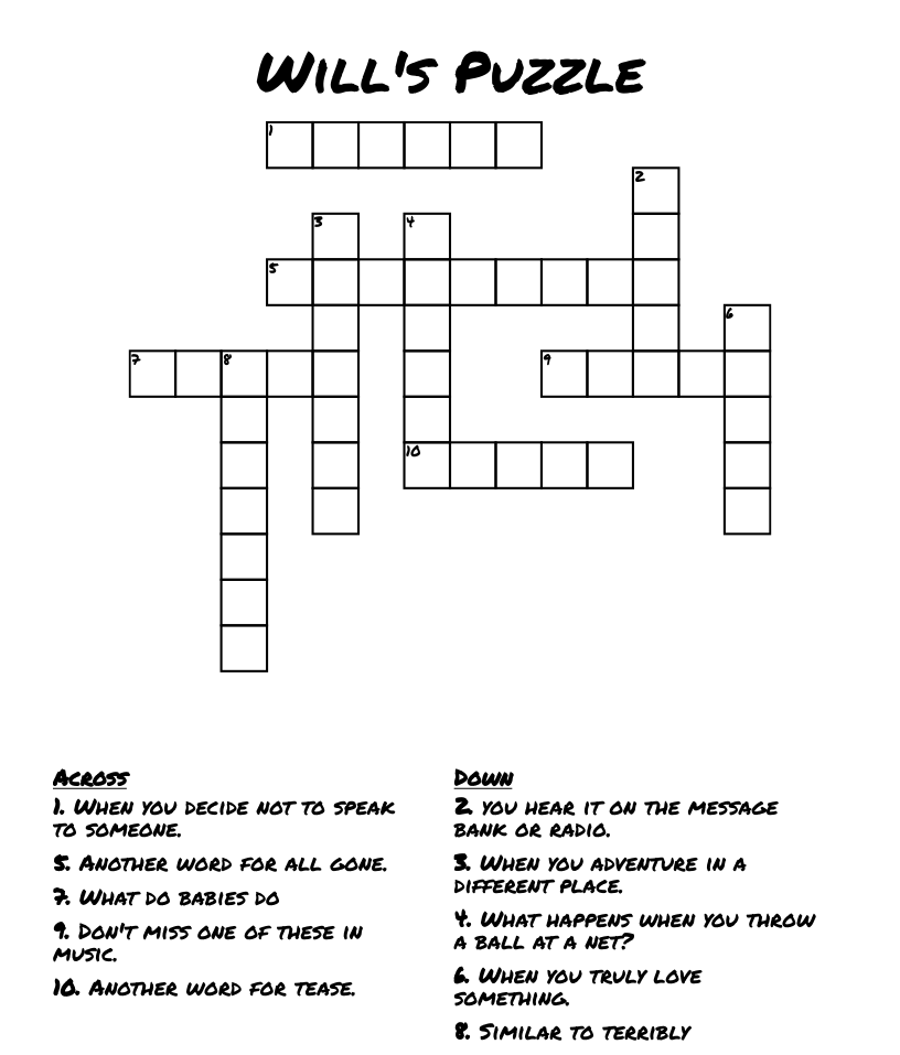 Will's Puzzle Crossword - WordMint