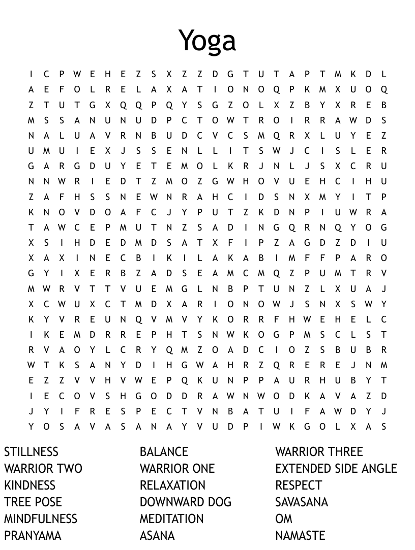 Yoga words Word Search   WordMint