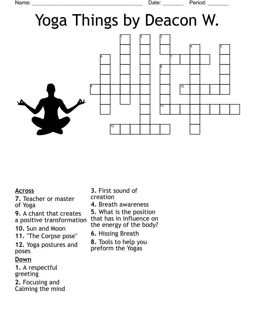 Yoga Things By Deacon W. Crossword   WordMint