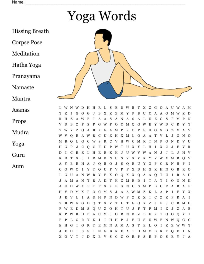Common Yoga Terms Crossword   WordMint