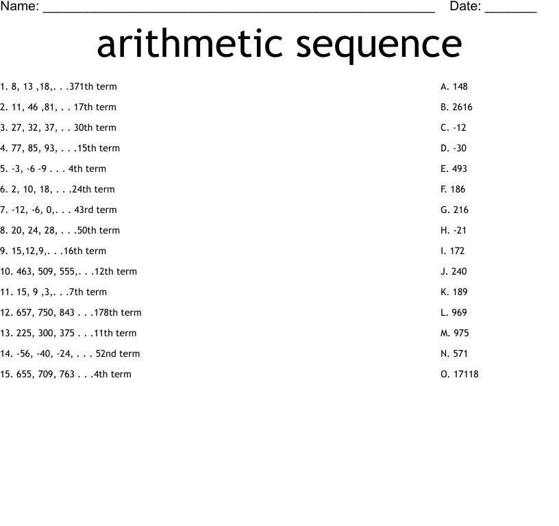 arithmetic sequence Worksheet   WordMint